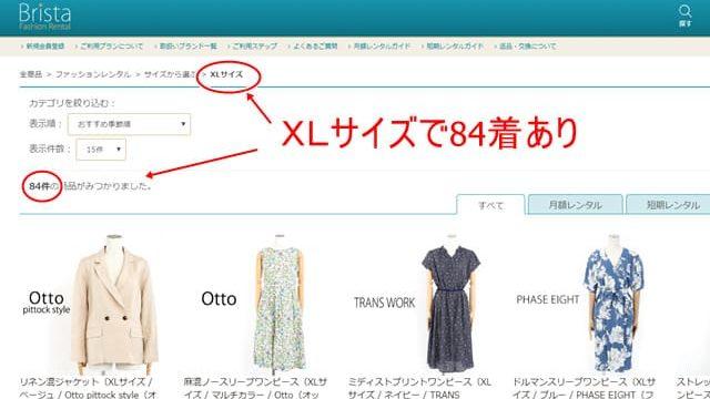 洋服レンタルレディース向けブリスタの大きいサイズ写真