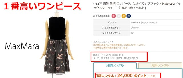 ブリスタレンタル一番高いドレス